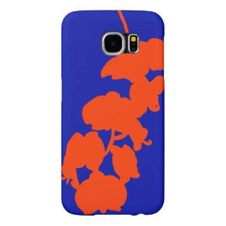 Silhueta, laranja e azul da flor capas samsung galaxy s6