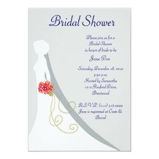 Silhueta nupcial da noiva do chuveiro convite 12.7 x 17.78cm