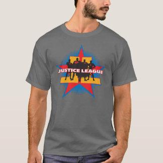 Silhuetas da liga de justiça e fundo da estrela camiseta