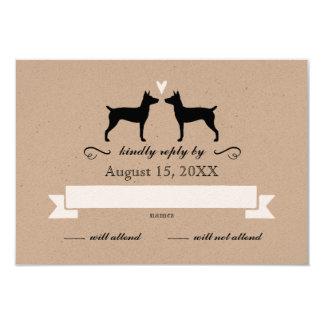 Silhuetas de Terrier de rato que Wedding a Convite 8.89 X 12.7cm