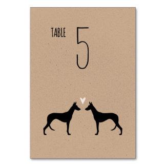 Silhuetas do cão de Ibizan que Wedding o cartão da