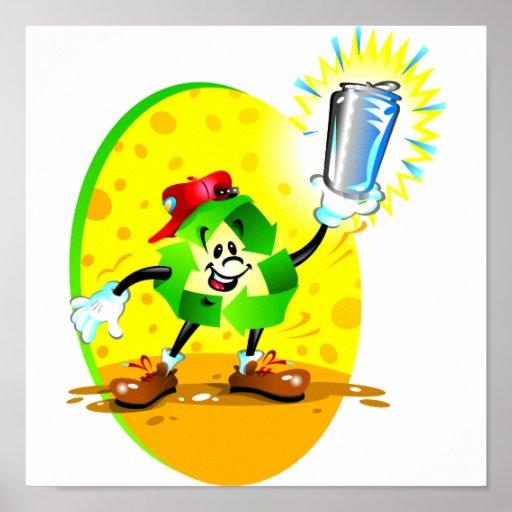 S mbolo animado do reciclagem com lata de alum nio poster - Simbolo de aluminio ...