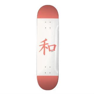 Símbolo chinês cor-de-rosa coral para a paz skate