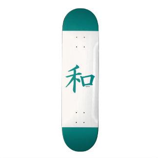 Símbolo chinês verde da cerceta para a paz shape de skate 19,7cm