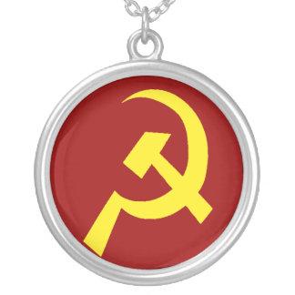 Símbolo da foice do martelo de URSS Colar Banhado A Prata