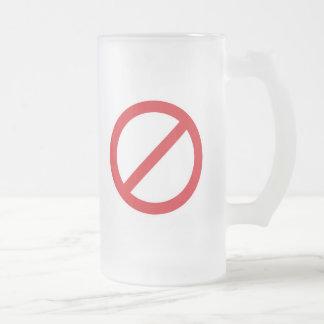 Símbolo da proibição Sign/No Caneca De Cerveja Vidro Jateado