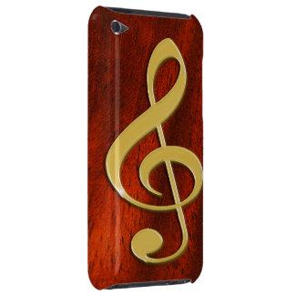 Símbolo de música na capa de ipod da madeira da