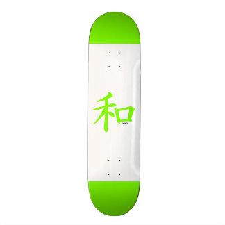 Símbolo de paz chinês verde Chartreuse de néon Skate Boards