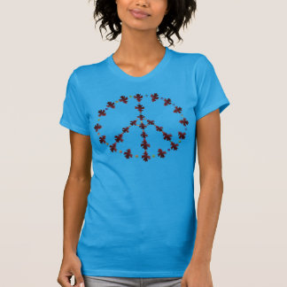 Símbolo de paz da folha do carvalho com pontos camiseta