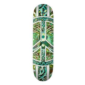Símbolo de paz, Yin Yang, árvore de vida no verde Skate