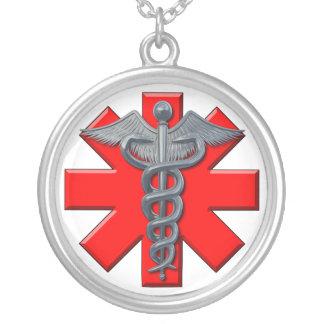 Símbolo de prata da profissão médica colar