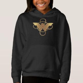 Símbolo do ouro da mulher maravilha sobre o laço camiseta