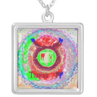 Símbolo do zodíaco do TAURUS Colar Banhado A Prata