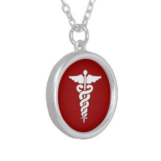 Símbolo médico colar com pendente redondo