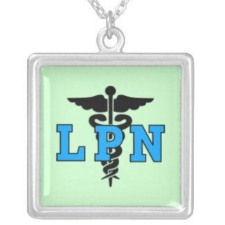 Símbolo médico de LPN Colar Com Pendente Quadrado