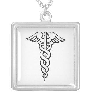 Símbolo médico do Caduceus Colar Com Pendente Quadrado