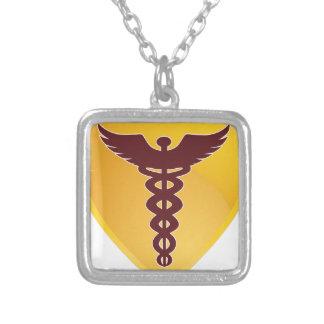 Símbolo médico do Caduceus do protetor do ouro Colar Com Pendente Quadrado