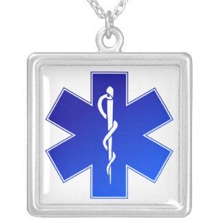 Símbolo médico do EMS Colar Banhado A Prata
