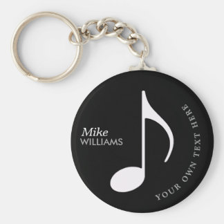 símbolo musical no chaveiro preto com nome