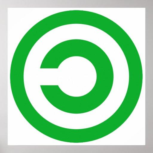 Símbolo verde de Anti-Copyright Copyleft Posters