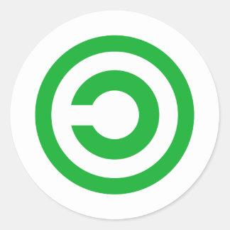 Símbolo verde do dominio público de Anti-Copyright Adesivo Redondo