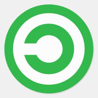 Símbolo verde do dominio público de Anti-Copyright Adesivo