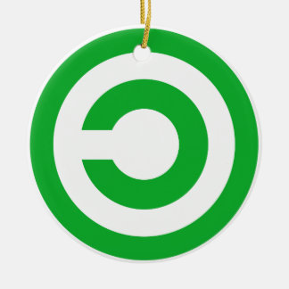 Símbolo verde do dominio público de Anti-Copyright Ornamento De Cerâmica Redondo