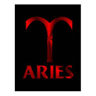 Símbolo vermelho do horóscopo do Aries Cartão Postal