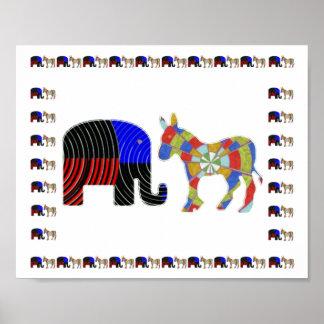 Símbolos animais AMERICANOS da POLÍTICA… Pôster