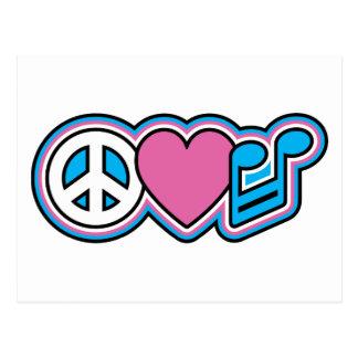 Símbolos de MÚSICA de PEACE-LOVE Cartão Postal