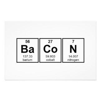 Símbolos do elemento de mesa periódica do bacon papelaria