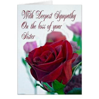 Simpatia na perda de irmã, com uma rosa vermelha cartão comemorativo