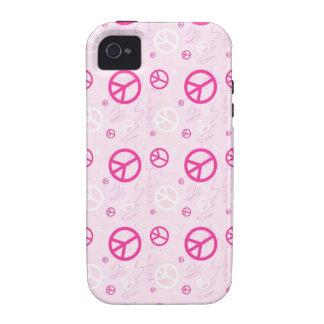 Sinais de paz cor-de-rosa femininos capinhas iPhone 4/4S
