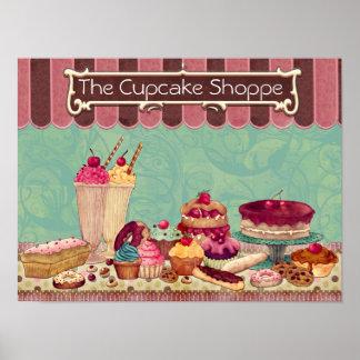 Sinal da loja da padaria do Patisserie do cupcake Poster