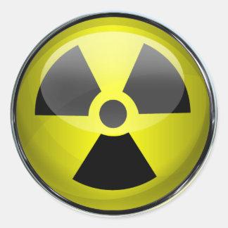 Sinal de aviso radioativo do símbolo da radiação adesivo