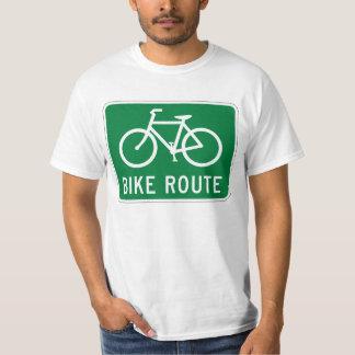 Sinal de estrada da pista de bicicleta do trajeto camiseta