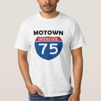 Sinal de estrada Detroit de Motown I-75 Michigan T-shirts