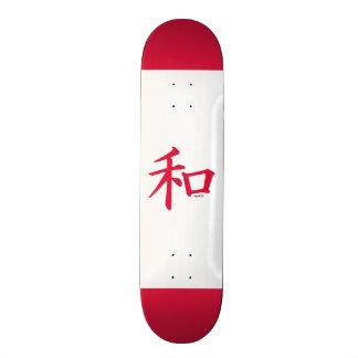 Sinal de paz chinês do vermelho carmesim skate