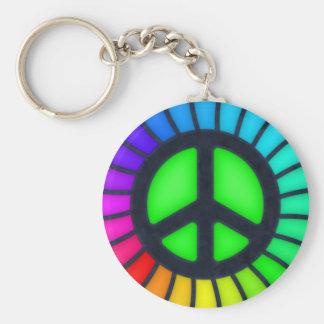 Sinal de paz do arco-íris chaveiro