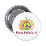 Sinal de paz no botão do Dia das Bruxas do Hippie  Boton