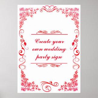 Sinal decorativo da festa de casamento da beira do pôster