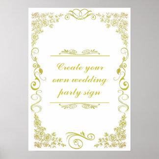 Sinal decorativo da festa de casamento da beira do poster