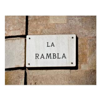 Sinal do cartão da espanha de Rambla Barcelona do