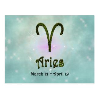 Sinal do zodíaco do Aries da cor da picareta de U Cartão Postal