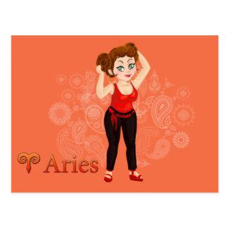 Sinal do zodíaco do Aries do horóscopo da beleza Cartão Postal