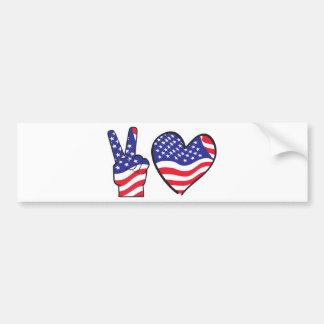 Sinal e coração patrióticos de paz adesivo para carro