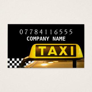 Sinal e tira amarelos do táxi de táxi cartão de visita