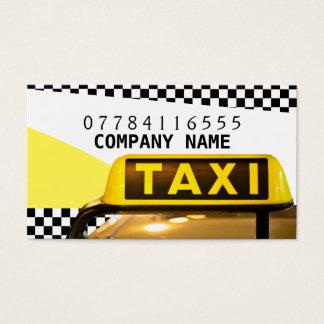 Sinal e tiras amarelos do táxi de táxi cartão de visita