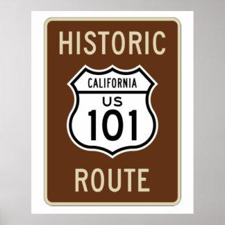Sinal histórico da rota 101 dos E.U. da rota (Cali Poster