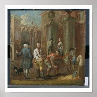 Sinal para um Paviour, c.1725 (óleo no painel) Poster